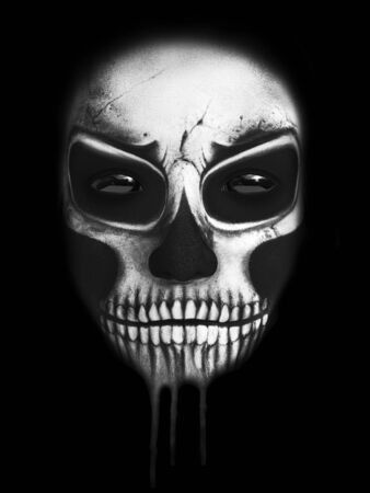 Dark portrait of the face of the reaper, 3D rendering. Black background. Stock Photo