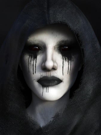 scary face: Portrait of demon dressed in a black hood, 3D rendering. Black background.