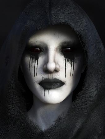 Portret van de demon, gekleed in een zwarte kap, 3D-rendering. Zwarte achtergrond.