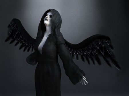 black wings: An angel of death with its black wings spread, 3D rendering. Dark background. Stock Photo