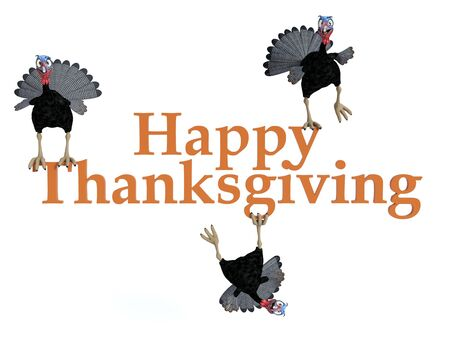 Three funny silly looking cartoon turkeys sitting and hanging on the text Happy Thanksgiving, 3D rendering. White background. Stock Photo