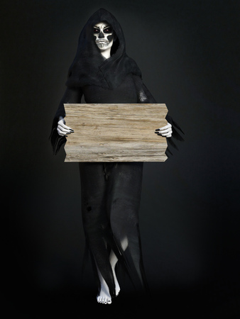 daemon: Female reaper or witch dressed in a black cloak holding a blank wooden sign, 3D rendering. Dark background.
