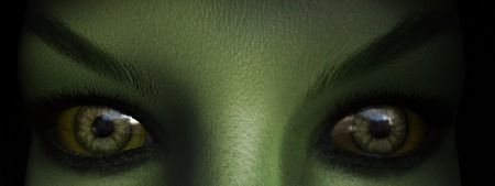 eyes closeup: Closeup of green witch eyes, 3D rendering.