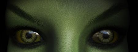 demonio: Primer plano de los ojos de la bruja verde, representación 3D.
