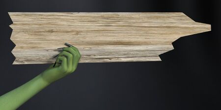 Green witch hand with long black fingernails holding a blank wooden sign, 3D rendering. Dark background.
