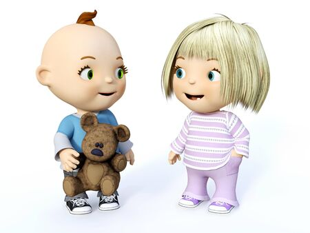 Cute smiling cartoon toddler boy and girl looking at each other, 3D rendering. White background.