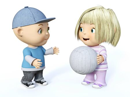Cute smiling cartoon toddler boy and girl playing with a ball, 3D rendering. White background. Stock Photo