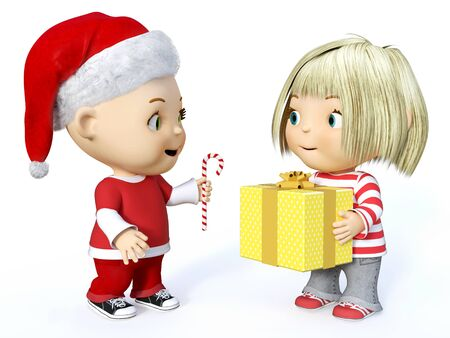 white clothes: Cute smiling cartoon toddler boy dressed in Santa clothes and a girl holding Christmas gift, 3D rendering. White background. Stock Photo