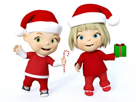 Cute smiling cartoon toddler boy and girl dressed in Santa clothes and celebrating Christmas, 3D rendering. White background.