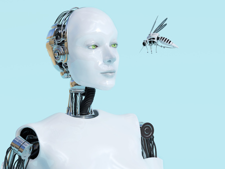 3D rendering of a female robot looking at a robotic mosquito. Light blue background.