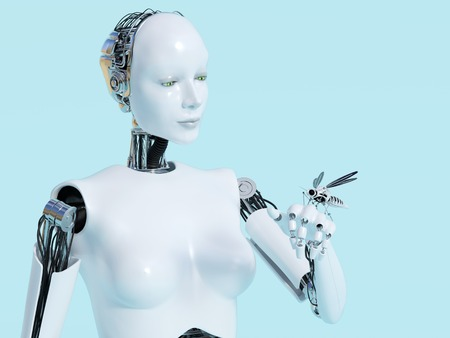 3D rendering of a female robot looking at a robotic mosquito that sits on her hand. Light blue background.