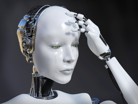 3D rendering of a female robot looking sad and crying, image 1. Dark background. Stock Photo