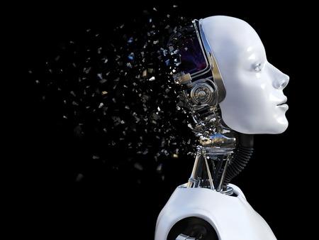 여성 로봇의 머리의 3D 렌더링. 머리가 부서지고있다. 검정색 배경입니다.
