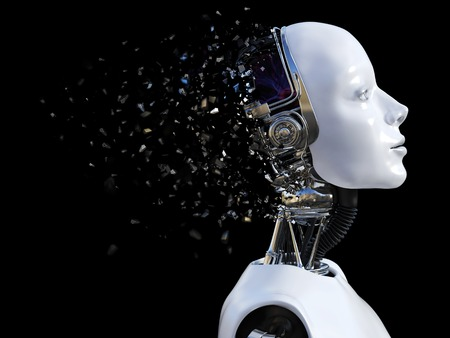 3D rendering of the head of a female robot. The head is breaking apart. Black background. Standard-Bild