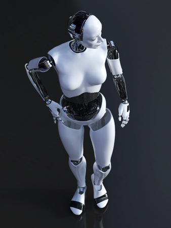 3D rendering of a female robot standing on dark background.