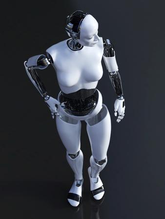 Representación 3D de una robusteza femenina que se coloca en fondo oscuro.