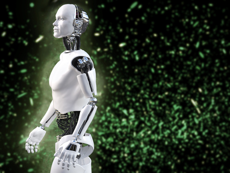 3D rendering of male robot with bokeh light effect. 스톡 콘텐츠