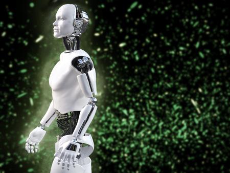 나뭇잎 조명 효과와 남성 로봇의 3D 렌더링.