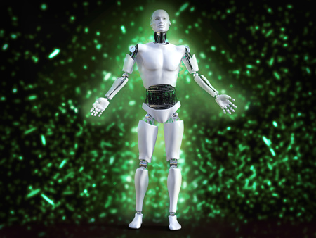 3D rendering of male robot standing with his arms out and with green bokeh light effect.