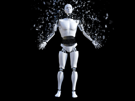 3D rendering of a male robot that is starting to shatter like its disintegrating or dissolving. Black background. Stock Photo