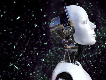 ピンぼけ光効果で女性ロボットの 3 D レンダリングします。