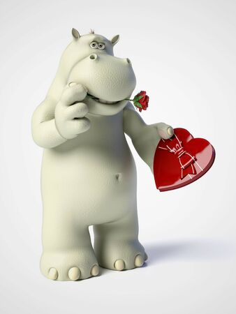 3D rendering of romantic cartoon hippo holding a red, heart shaped chocolate box in his hand and having a rose in his mouth. White background.