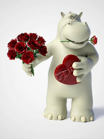 3D rendering of romantic cartoon hippo holding a red, heart shaped chocolate box in one hand and a bouquet of roses in the other hand and a rose in his mouth. White background. Stock Photo