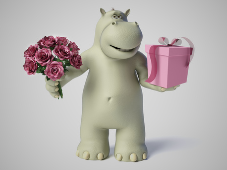 3D rendering of romantic cartoon hippo holding a bouquet of pink roses in one hand and a gift in the other. White background.
