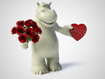 3D rendering of romantic cartoon hippo holding a red, heart shaped chocolate box in one hand and a bouquet of roses in the other hand. White background.