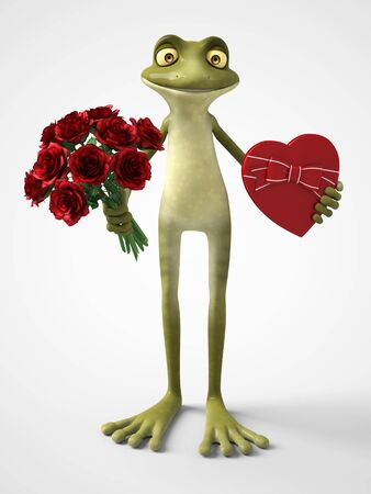 3D rendering of a smiling, romantic cartoon frog holding a red, heart shaped chocolate box in one hand and a bouquet of roses in the other hand. White background.
