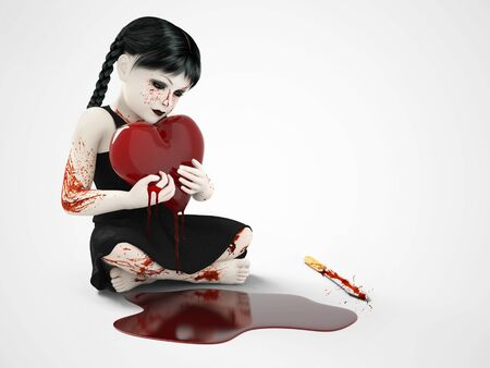 3D rendering of an evil gothic looking, blood covered small girl holding a bleeding heart. There is a knife on the floor and a puddle of blood. White background.