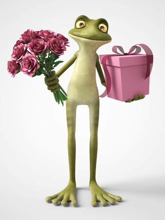 3D rendering of a smiling, romantic cartoon frog holding a bouquet of pink roses in one hand and a gift in the other. White background.