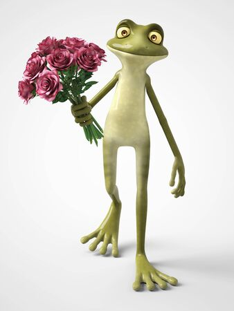 3D rendering of a smiling, romantic cartoon frog holding a bouquet of roses. White background.