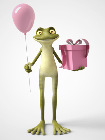 3D rendering of a smiling, cartoon frog holding a pink balloon in one hand and a birthday gift in the other. White background. Stock Photo