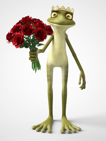 3D rendering of a smiling, romantic cartoon frog prince holding a bouquet of red roses. White background.