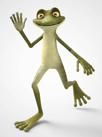 3D rendering of a smiling cartoon frog waving and looking very happy. White background.