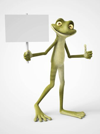 3D rendering of a smiling, cartoon frog holding a blank sign in one hand and giving a thumb up with his other hand. White background.