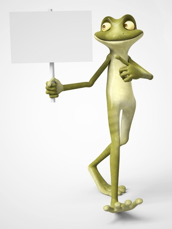 3D rendering of a smiling, cartoon frog holding a blank sign in one hand and pointing to it with his other hand. White background.