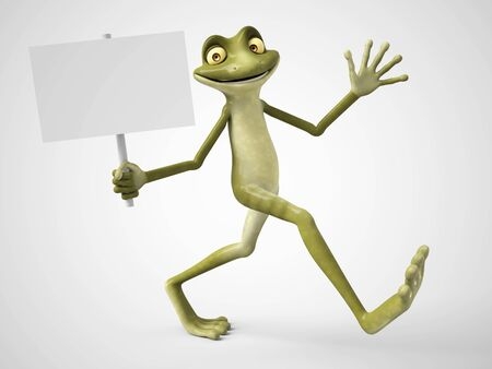 3D rendering of a smiling, cartoon frog holding a blank sign in his hand. White background.