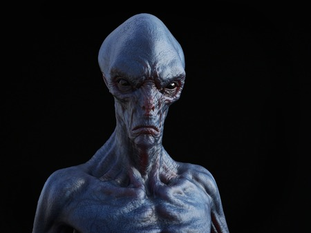 Portrait of an alien creature, 3D rendering. Black background. Stock Photo