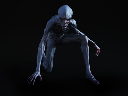 Portrait of an alien creature crouching and looking very angry, ready to attack, 3D rendering. Black background.