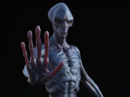 Alien creature holding its hand up like its stopping you or greeting. 3D rendering. Black background. Stock Photo