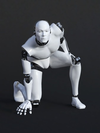 3D rendering of male robot crouching. Dark background.