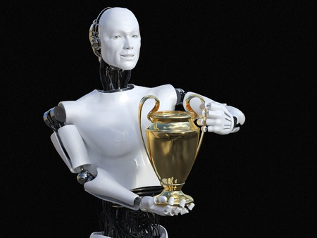 3D rendering of male robot holding golden prize trophy award. Black background.