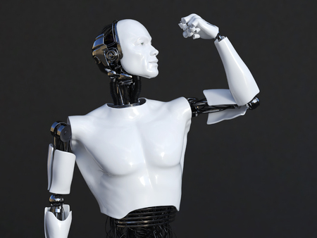 3D rendering of male robot flexing his bicep muscle. Dark background.