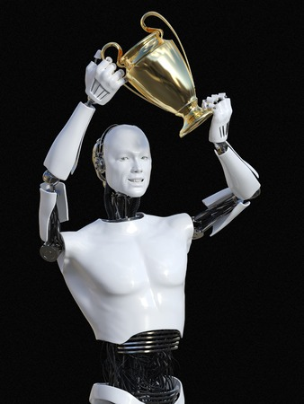 3D rendering of male robot holding a golden prize trophy award above his head. Black background.