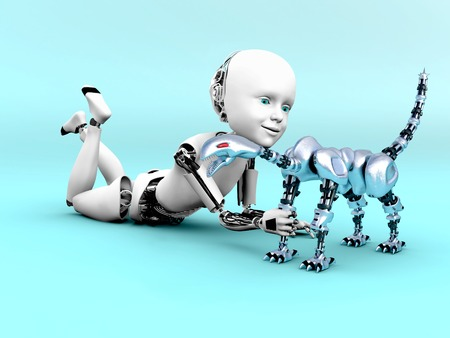 3D rendering of a robot child lying on the floor and playing with a toy robot dog. Bluish background.