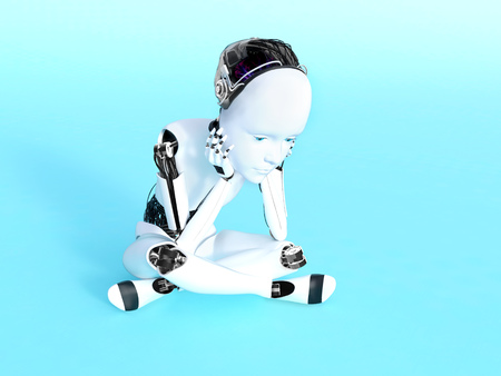 3D rendering of a robot child sitting on the floor and thinking. Bluish background. Stock Photo