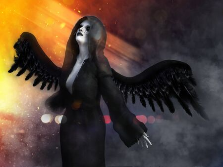 An angel of death with its black wings spread, 3D rendering. Lights and smoke in the background.
