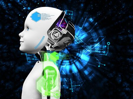3D rendering of child robot head technology concept. Black background. Stock Photo